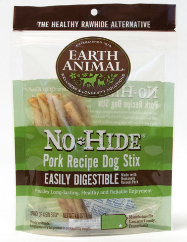 EARTH ANIMAL DOG NO-HIDE PORK STIX TREAT 10 Pack