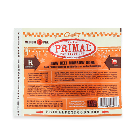 PRIMAL RAW RECREATIONAL BEEF MARROW BONES - MEDIUM