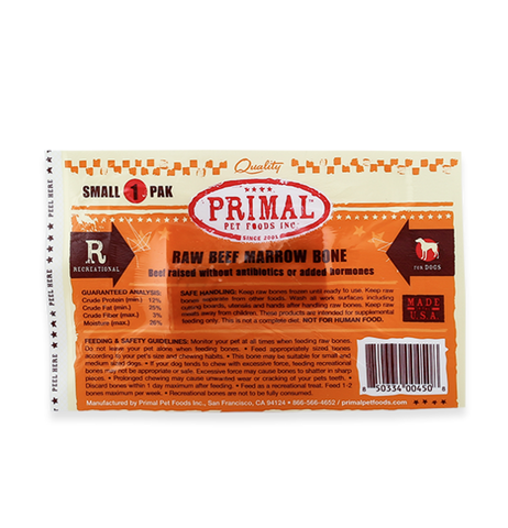 PRIMAL DOG RAW RECREATIONAL BEEF MARROW BONES - SMALL