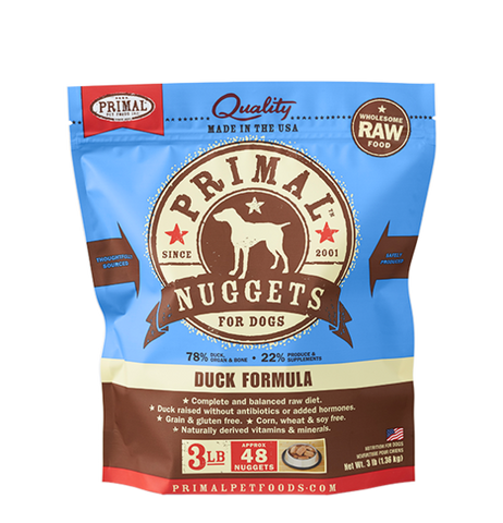 PRIMAL NUGGETS 3LB RAW FROZEN CANINE DUCK FORMULA