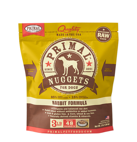 NUGGETS 3LB RAW FROZEN CANINE RABBIT FORMULA
