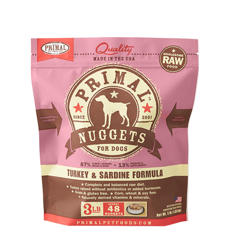 PRIMAL NUGGETS 3LB RAW FROZEN CANINE TURKEY & SARDINE FORMULA (PICK UP IN STORE ONLY)