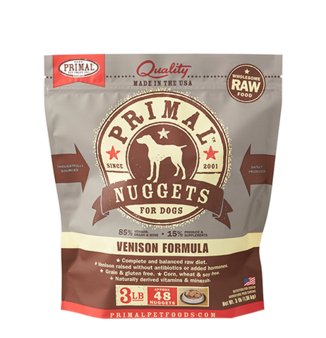 PRIMAL NUGGETS 3LB RAW FROZEN CANINE VENISON FORMULA (PICK UP IN STORE ONLY)