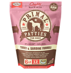 PRIMAL PATTIES 6LB RAW FROZEN CANINE TURKEY & SARDINE FORMULA (PICK UP IN STORE ONLY)