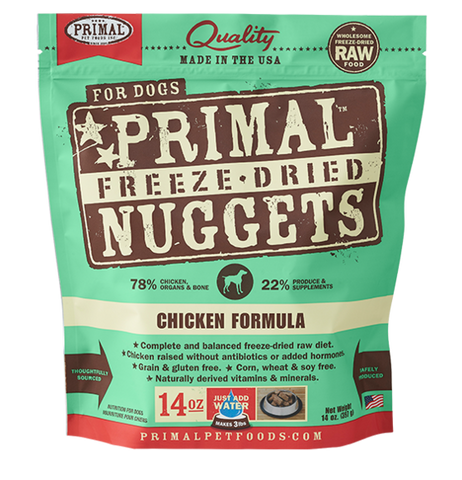 PRIMAL NUGGETS 14OZ RAW FREEZE-DRIED CANINE CHICKEN FORMULA