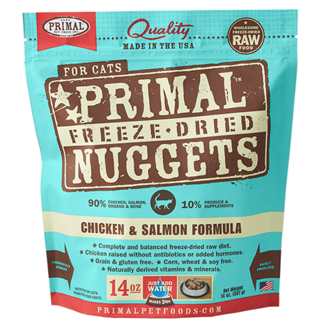 PRIMAL NUGGETS 14OZ RAW FREEZE-DRIED FELINE CHICKEN & SALMON FORMULA