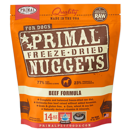 PRIMAL NUGGETS 14OZ RAW FREEZE-DRIED CANINE BEEF FORMULA