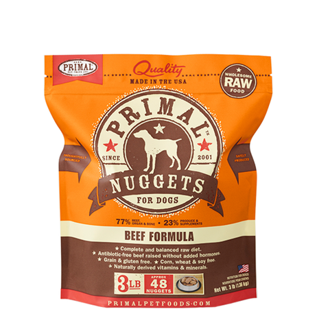 PRIMAL NUGGETS 3LB RAW FROZEN CANINE BEEF FORMULA (PICK UP IN STORE ONLY)