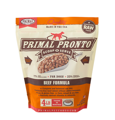 PRIMAL PRONTO 4LB RAW FROZEN CANINE BEEF FORMULA