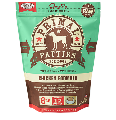 PRIMAL PATTIES 6LB RAW FROZEN CANINE CHICKEN FORMULA (PICK UP IN STORE ONLY)