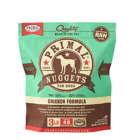 PRIMAL NUGGETS 3LB RAW FROZEN CANINE CHICKEN FORMULA (PICK UP IN STORE ONLY)