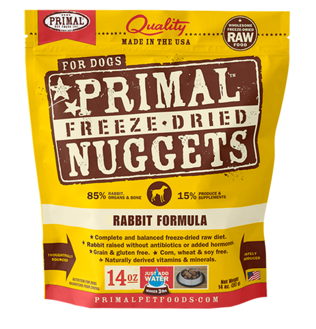 PRIMAL NUGGETS 14OZ RAW FREEZE-DRIED CANINE RABBIT FORMULA