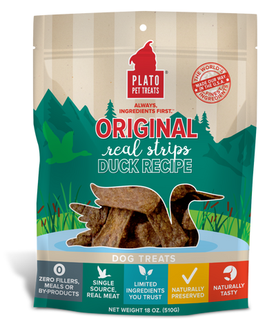 Plato Strips Natural Duck Dog Treats 16z