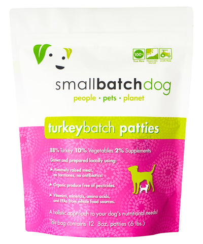 Small Batch 8z Turkey Patties Raw Frozen Dog Food 6lbs (PICK UP IN STORE ONLY)