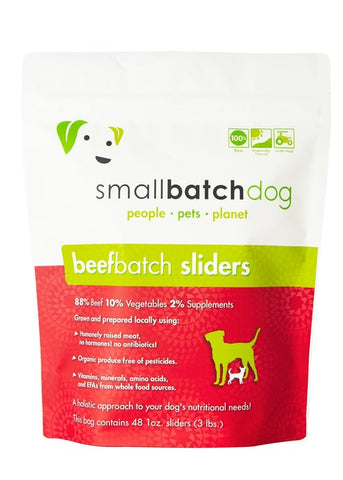 Small Batch Beef Sliders Raw Frozen Dog Food 3lbs