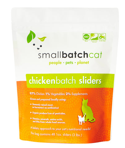 Small Batch Cat Frozen Chicken Sliders Cat Food 3lb