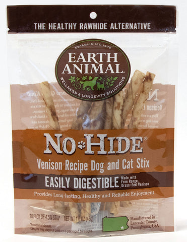 EARTH ANIMAL DOG NO-HIDE VENISON STIX TREAT 10 Pack