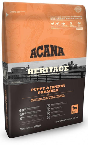 ACANA HERITAGE PUPPY & JUNIOR FORMULA GRAIN FREE DRY DOG FOOD 25lb