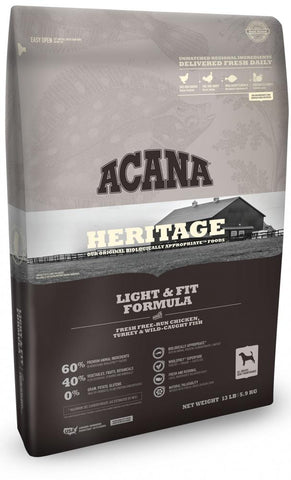ACANA HERITAGE LIGHT & FIT FORMULA GRAIN FREE DRY DOG FOOD 25lb