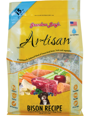 GRANDMA LUCY'S ARTISAN GRAIN FREE BISON FREEZE DRIED DOG FOOD 3lb
