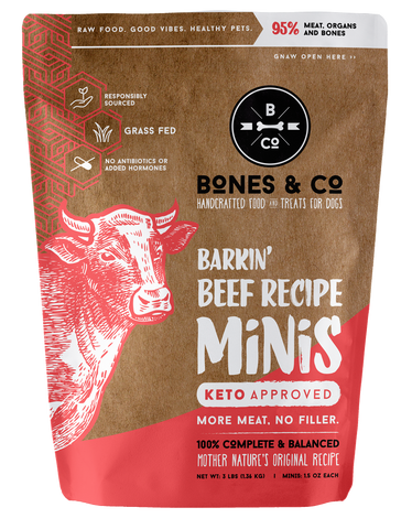 BONES & CO BARKIN' BEEF MINI RECIPE PATTIES 3LB
