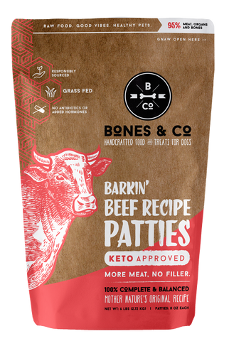 BONES & CO BARKIN' BEEF RECIPE PATTIES 6lb (PICK UP IN STORE ONLY)