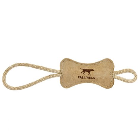 Tall Tail Natural Leather Bone Tug Toy
