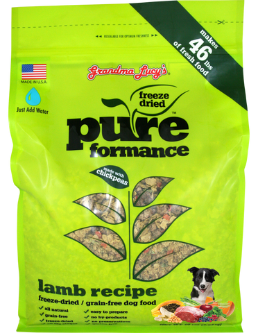 GRANDMA LUCY'S PUREFORMANCE LAMB AND CHICKPEA FREEZE DRIED GRAIN FREE DOG FOOD 10lb