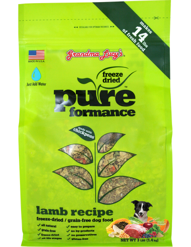GRANDMA LUCY'S PUREFORMANCE LAMB AND CHICKPEA FREEZE DRIED GRAIN FREE DOG FOOD 3lb