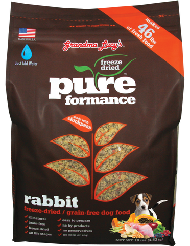 GRANDMA LUCY'S PUREFORMANCE RABBIT AND CHICKPEA FREEZE DRIED GRAIN FREE DOG FOOD 10lb