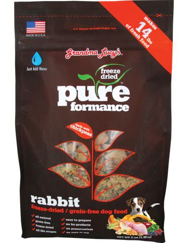GRANDMA LUCY'S PUREFORMANCE RABBIT AND CHICKPEA FREEZE DRIED GRAIN FREE DOG FOOD 3lb