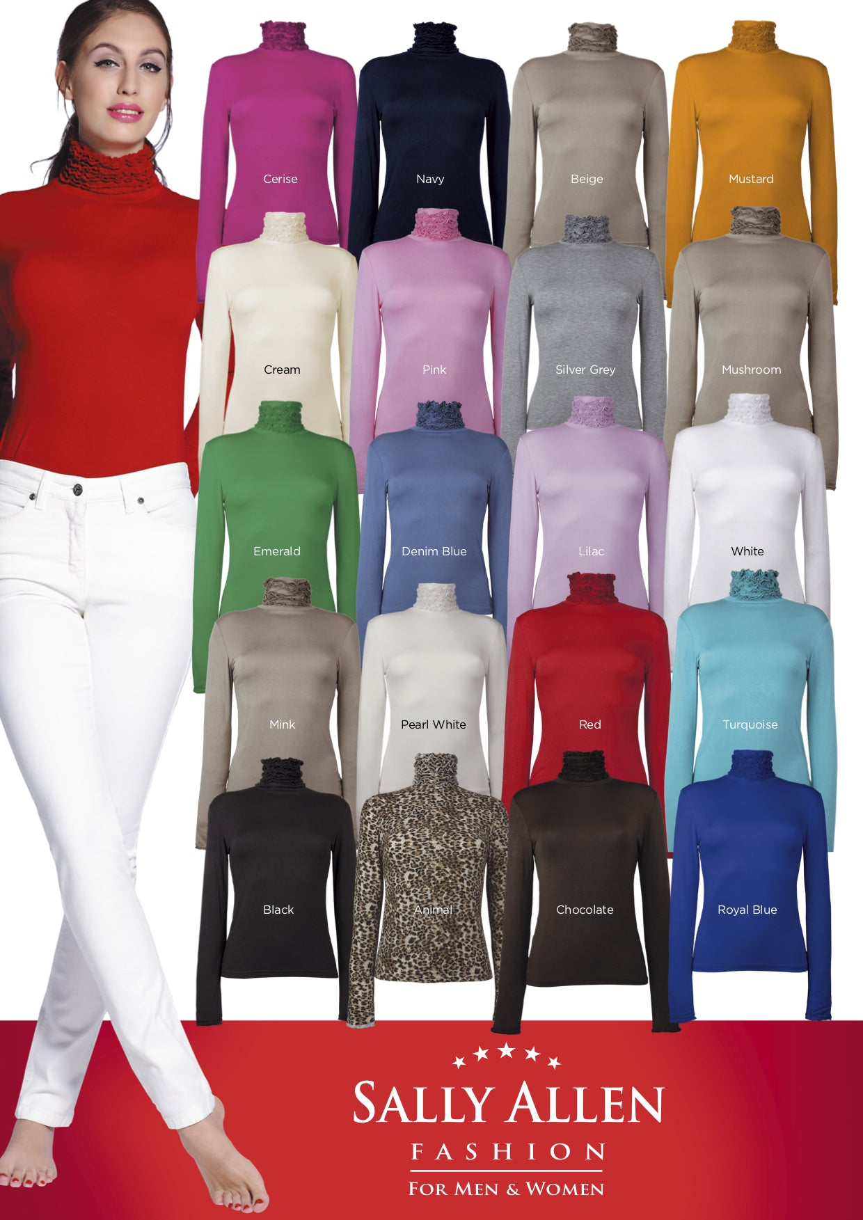 polo neck jumpers - fine knit by Sally Allen Fashion