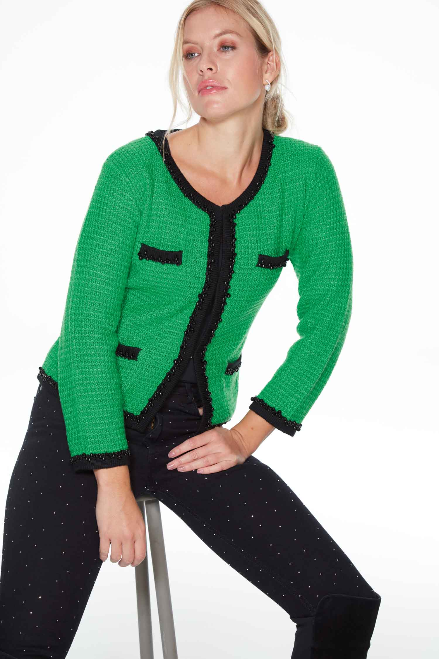 green Anya Jacket by Sally Allen - inspired by the legendary Coco Chanel