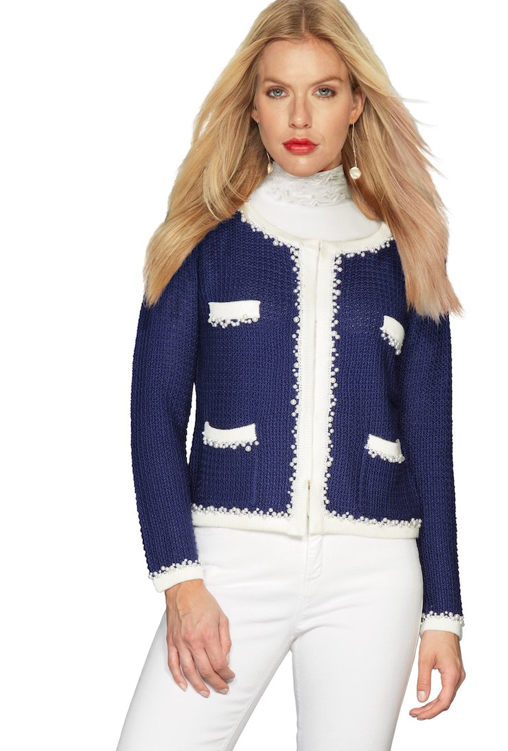 chanel-inspired knitted french jacket in royal blue
