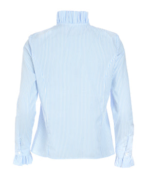 Blue & White Stripe Ruffle Shirt by Sally Allen - back