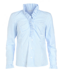 Blue & White Stripe Ruffle Shirt by Sally Allen - front