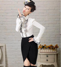 Load image into Gallery viewer, womens white ruffle shirt with black edging