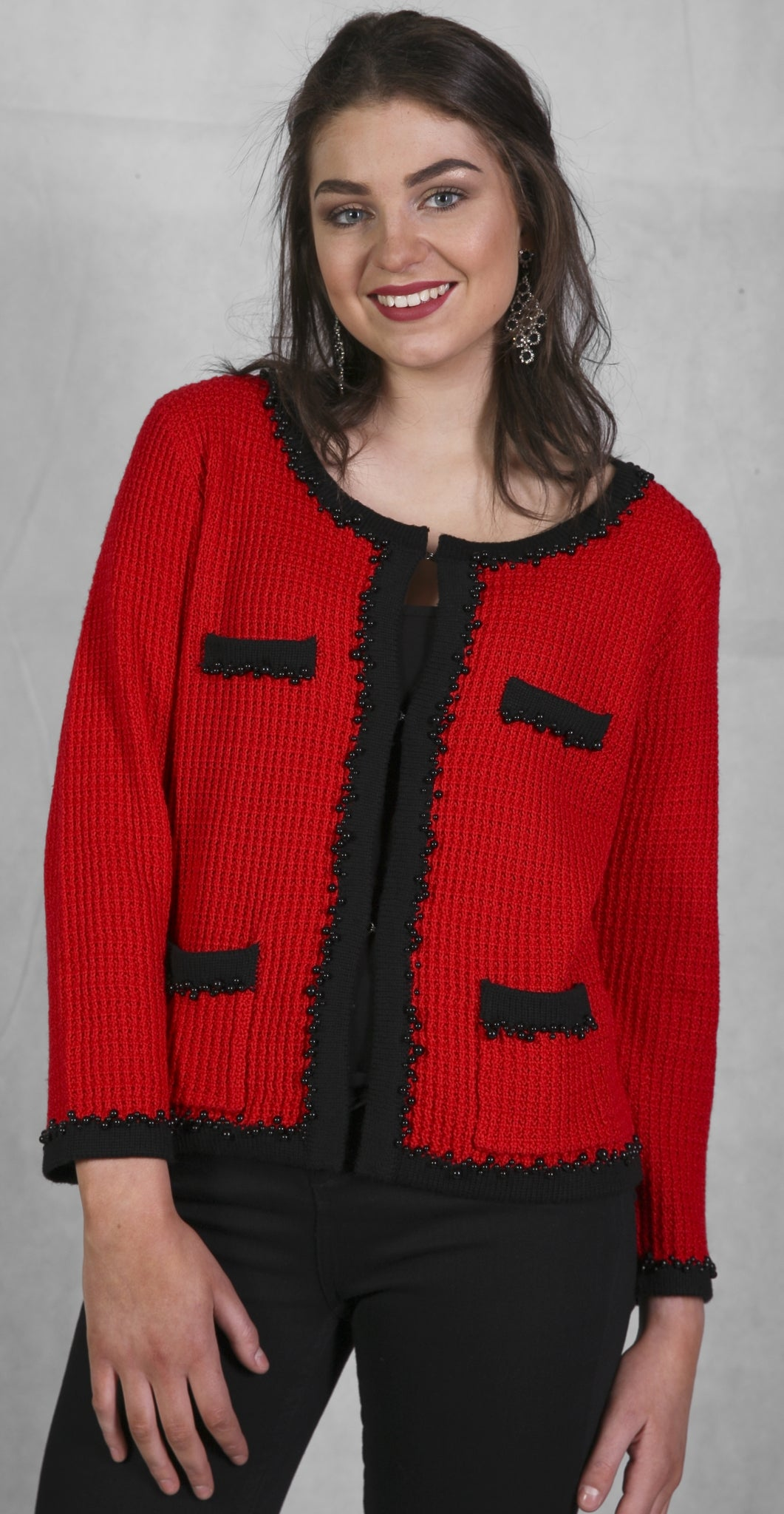 Amelie Red Knitted Jacket, Coco Chanel inspired