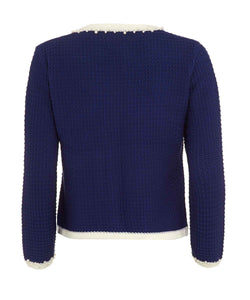 rear of royal blue knitted jacket inspired by coco chanel
