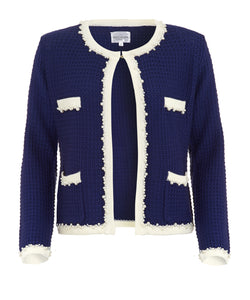 front of Royal Blue Chanel inspired knitted jacket with white edging and pearl trim