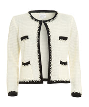 Load image into Gallery viewer, front of white knitted jacked inspired by coco chanel