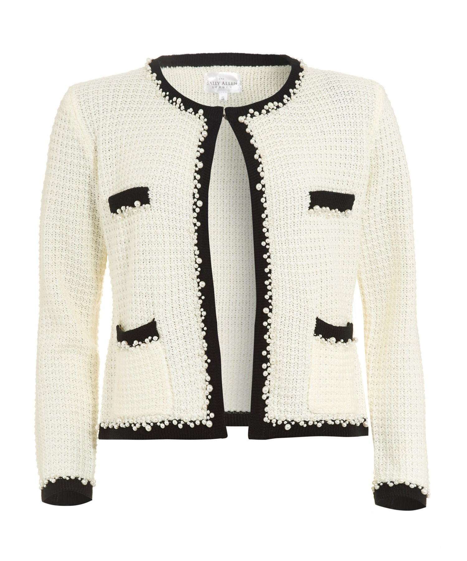 Front of French style little white knitted jacket as inspired by Coco Chanel