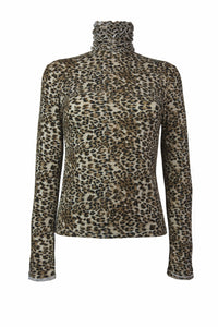 Ruffle Polo Neck Fine Knit Sweater - Animal Print