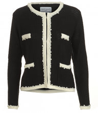 Load image into Gallery viewer, Annie Jacket inspired by the legendary Coco Chanel. Black with creamy white edging and pearl and diamante trim