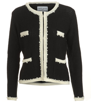 Front view of Annie Jacket inspired by the legendary Coco Chanel. Black with creamy white edging and pearl and diamante trim