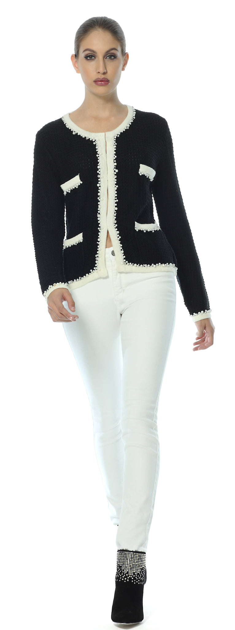 Little French knitted Jacket in black inspired by Coco Chanel paired with white jeans and black ankle boots