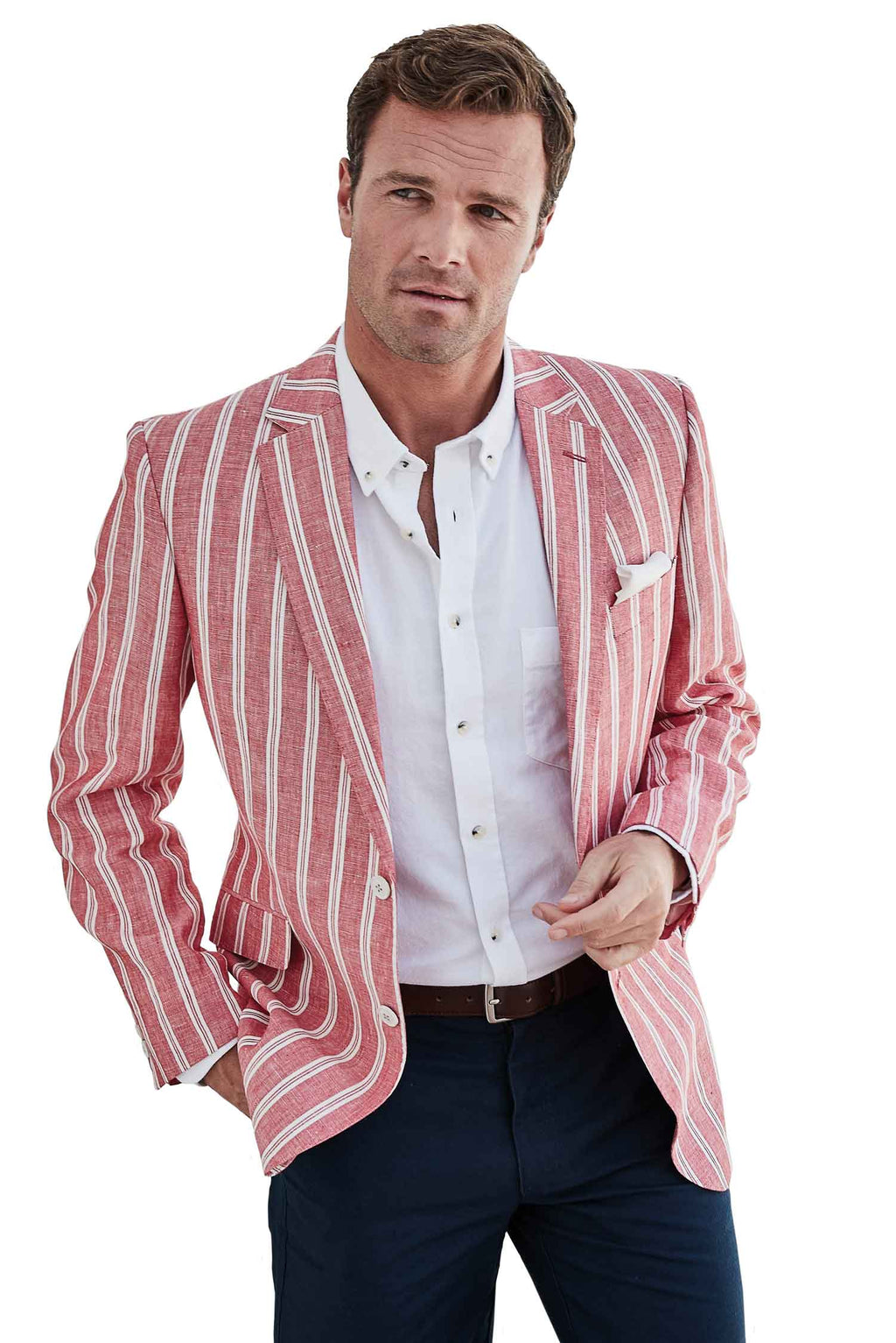 Awdry Men's Jacket - coral and white stripe