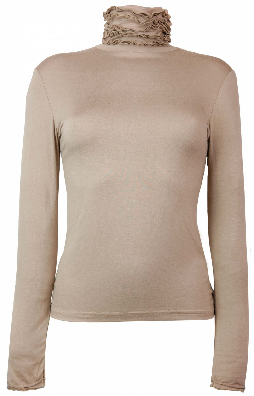 Best selling fine knit Ruffle Polo Neck Sweater in Beige by Sally Allen