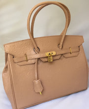 Load image into Gallery viewer, Ostrich-style leather handbag in beige with PLU lining