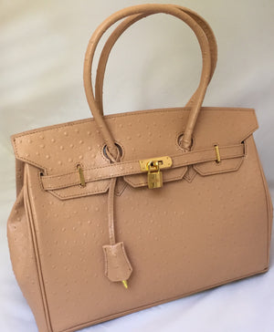 Ostrich-style leather handbag in beige with PLU lining